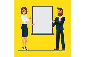 Businessman and businesswoman giving a presentation in a conference meeting. Vector flat illustration concept