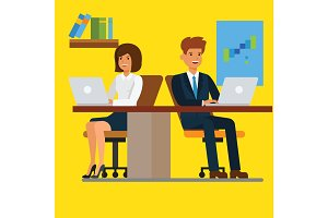 Business people working on computer in office. Teamwork, person job, businessman and businesswoman, vector illustration