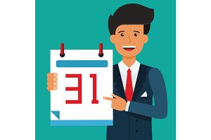 Young businessman hold a calendar on his hand. Deadline time, time management concept. Flat vector illustration
