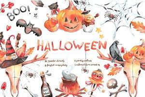 Halloween - watercolor clipart