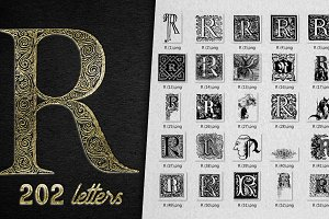 Vintage Letter R Vector And PNG