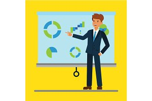 Cartoon businessman giving a presentation with graphs in office, seminar, training. Illustration flat vector concept