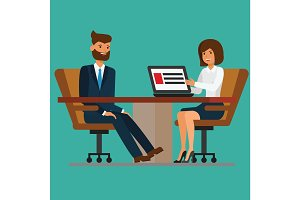 Businesswoman addressing meeting to businessman at boardroom table. Vector flat illustration