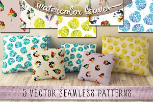 5 watercolor leaves patterns