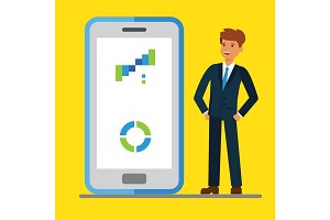Internet mobile business. Businessmen standing near display of a big smart phone. Flat concept vector illustration.