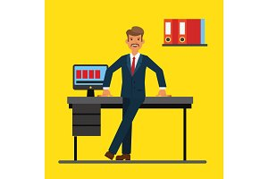 Successfull businessman standing near office table. Flat vector illustration
