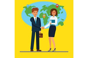 Businessman and businesswoman shaking hands in front of the map. Business people. Flat concept vector illustration.