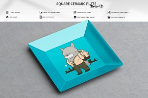 Square Ceramic Plate Mock-Up