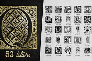Vintage Letter Q Vector And PNG