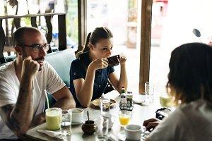 Friends having breakfast