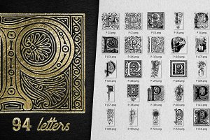 Vintage Letter P Vector And PNG
