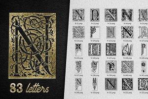 Vintage Letter N Vector And PNG