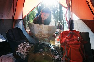 Female Map Camping Forest