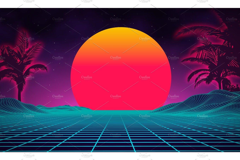 Retro background futuristic landscape 1980s style. Digital ...