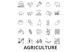 Agriculture, farmer, field, farming, tractor, wheat, harvest, cow, machinery line icons. Editable strokes. Flat design vector illustration symbol concept. Linear signs isolated