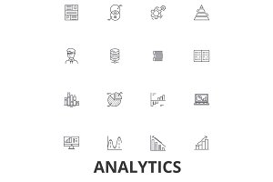 Analytics,  data, statistics, analyze,  graph,  report, concept,  chart, plan line icons. Editable strokes. Flat design vector illustration symbol concept. Linear signs isolated