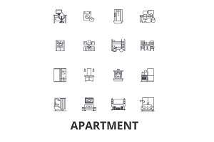 Apartment, building, house, interior, flat, complex, architecture, living room line icons. Editable strokes. Flat design vector illustration symbol concept. Linear signs isolated
