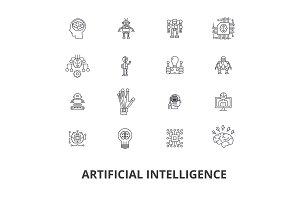 Artificial intelligence, robot, computer brain, technic, cyborg, brain, android line icons. Editable strokes. Flat design vector illustration symbol concept. Linear signs isolated