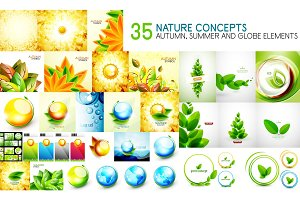 Mega collection of nature leaves - autumn and summer concept backgrounds