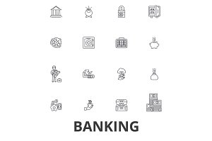Banking, ank building, finance, money, banker, piggy bank, business, credit card line icons. Editable strokes. Flat design vector illustration symbol concept. Linear signs isolated