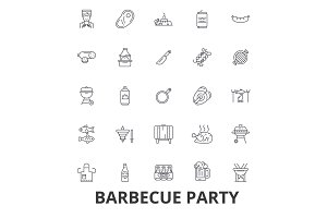 Barbecue party, grill, garden party, meat, picnic, barbecue food, fish, beer line icons. Editable strokes. Flat design vector illustration symbol concept. Linear signs isolated