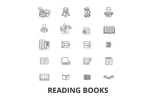 Books, open book, stack of books, bookshelf, library, read, reading book, paper line icons. Editable strokes. Flat design vector illustration symbol concept. Linear signs isolated