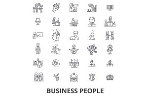 Business people, planning, working, teamwork, human resources, management line icons. Editable strokes. Flat design vector illustration symbol concept. Linear signs isolated