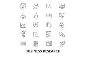 Business research, strategy, marketing, analytics, data, monitoring, studying line icons. Editable strokes. Flat design vector illustration symbol concept. Linear signs isolated