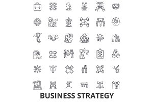 Business strategy, business plan, business, strategy concept, marketing, vision line icons. Editable strokes. Flat design vector illustration symbol concept. Linear signs isolated