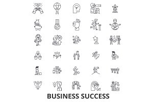 Business success, concept, growth, successful, achievement, corporate, award line icons. Editable strokes. Flat design vector illustration symbol concept. Linear signs isolated