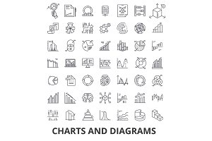Charts and diagrams, diagram element, flow chart, circle diagram, graphic, arrow line icons. Editable strokes. Flat design vector illustration symbol concept. Linear signs isolated