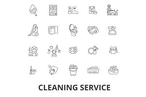 Cleaning service, house cleaning, office cleaning, cleaning supplies, cleaner line icons. Editable strokes. Flat design vector illustration symbol concept. Linear signs isolated