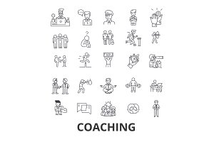 Coaching, sport coach, mentor, coach bus, life coach, training, trainer, whistle line icons. Editable strokes. Flat design vector illustration symbol concept. Linear signs isolated