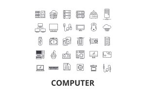 Computer, laptop, computer screen, technology, internet, mouse, monitor, network line icons. Editable strokes. Flat design vector illustration symbol concept. Linear signs isolated