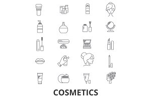 Cosmetics, beauty, makeup, lipstick, perfume, cosmetic bottle, cream, product line icons. Editable strokes. Flat design vector illustration symbol concept. Linear signs isolated