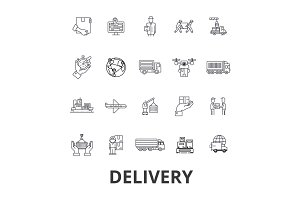 Delivery, food, free delivery, courier, truck, pizza delivery, transportation line icons. Editable strokes. Flat design vector illustration symbol concept. Linear signs isolated