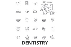 Dentistry, dentist, dental, dental care, dentist office, teeth, smile, implant line icons. Editable strokes. Flat design vector illustration symbol concept. Linear signs isolated
