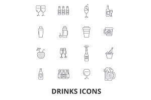 Drinks, cocktail, beer, alcoholic drinks, water, wine, alcohol, bar, coffee line icons. Editable strokes. Flat design vector illustration symbol concept. Linear signs isolated