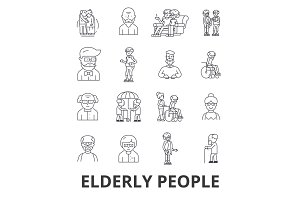 Elderly people, care, elderly couple, old people, elderly patient, support line icons. Editable strokes. Flat design vector illustration symbol concept. Linear signs isolated
