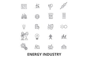 Energy industry, oil and gas, efficiency, saving, green energy, hydroelectric line icons. Editable strokes. Flat design vector illustration symbol concept. Linear signs isolated
