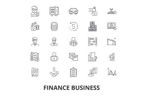 Finance business, bank, money, finance concept, business loan, dollar, exchange line icons. Editable strokes. Flat design vector illustration symbol concept. Linear signs isolated