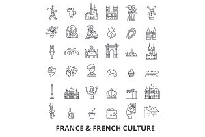 France, eiffel tower, french, france flag, Europe, Paris, parisian, triumphal line icons. Editable strokes. Flat design vector illustration symbol concept. Linear signs isolated