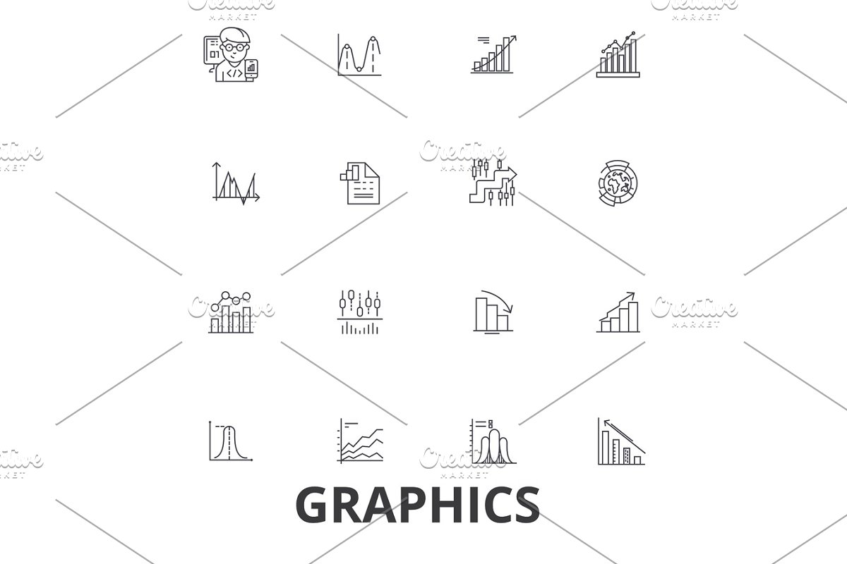 Graphics, graph, infographic, design, chart, graphic element, illustration, logo line icons. Editable strokes. Flat design vector illustration symbol concept. Linear signs isolated