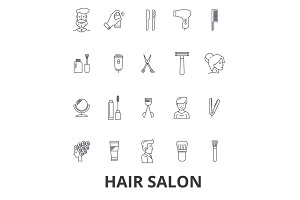 Hair salon, hair style, hairdresser, model, beauty salon, hair stylist, hair cut line icons. Editable strokes. Flat design vector illustration symbol concept. Linear signs isolated