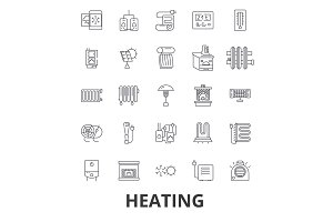 Heating, hot, heart, radiator, heater, heating system, fire, wave, warm, sun line icons. Editable strokes. Flat design vector illustration symbol concept. Linear signs isolated