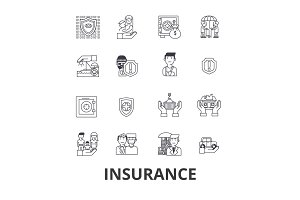 Insurance, health insurance, insurance agent, life insurance, protection, safety line icons. Editable strokes. Flat design vector illustration symbol concept. Linear signs isolated