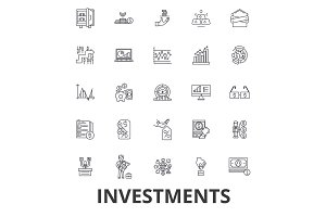 Investment, finance, money, investor, stock market, savings, business, bank line icons. Editable strokes. Flat design vector illustration symbol concept. Linear signs isolated