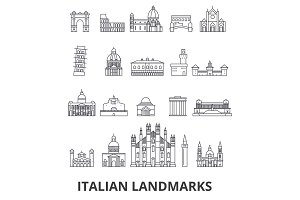 Italian landmakrs, italian, italian landscape, piza tower, cathedral, colosseum line icons. Editable strokes. Flat design vector illustration symbol concept. Linear signs isolated