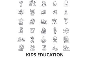 Kids education, learning, education background, school, education technology line icons. Editable strokes. Flat design vector illustration symbol concept. Linear signs isolated