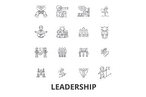 Leadership, leader, management, teamwork, lead, development, success, innovation line icons. Editable strokes. Flat design vector illustration symbol concept. Linear signs isolated